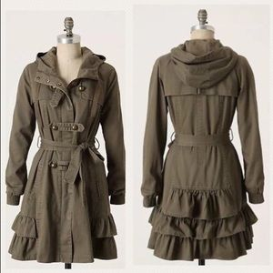 Anthropologie Idra Frill Force Button Down Jacket